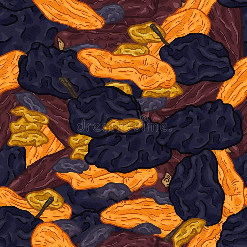Vector Seamless Pattern of Dried Fruits stock illustration