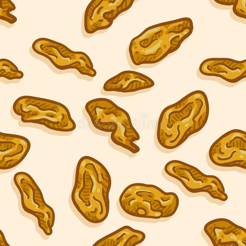 Vector Seamless Pattern of Cartoon Golden Raisin. On Beige Background stock illustration