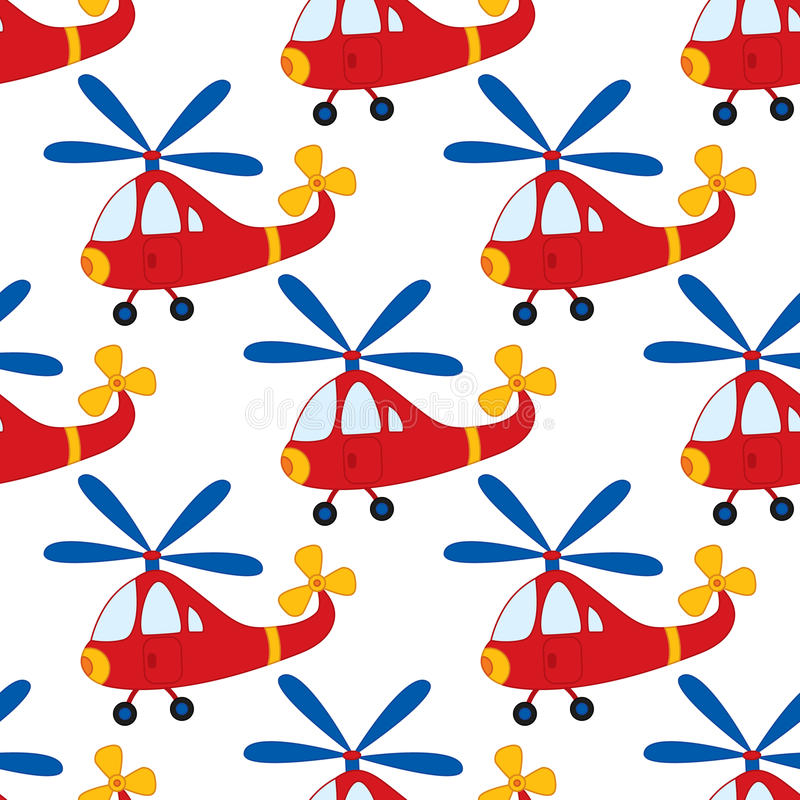 Vector Seamless Pattern with Cartoon Helicopter. Vector Boys Toy Helicopter. Helicopter Seamless Pattern Vector Illustration. Vector seamless pattern with vector illustration