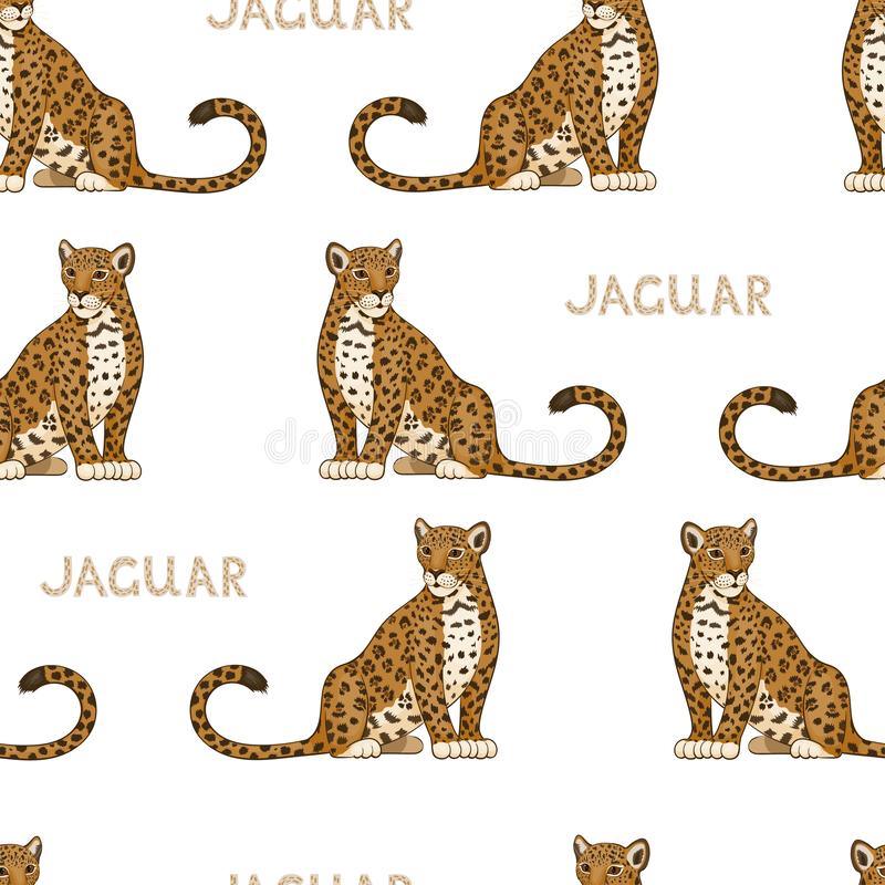 Vector seamless pattern with cartoon jaguars. Colored seamless background royalty free illustration