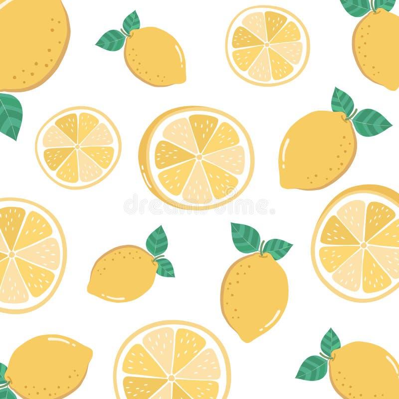 Vector seamless pattern with cartoon lemon isolated on white vector illustration