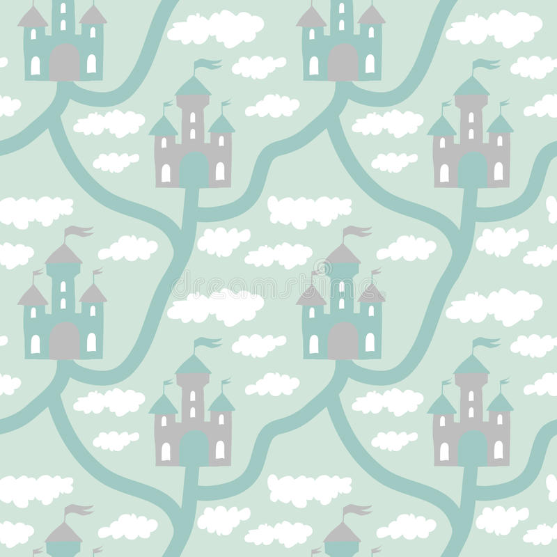 Vector seamless pattern with cartoon map kingdom royalty free illustration