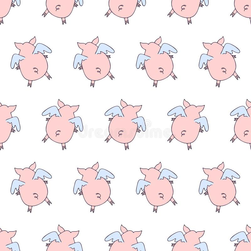 Vector seamless pattern of cartoon pigs angels flying on white background vector illustration