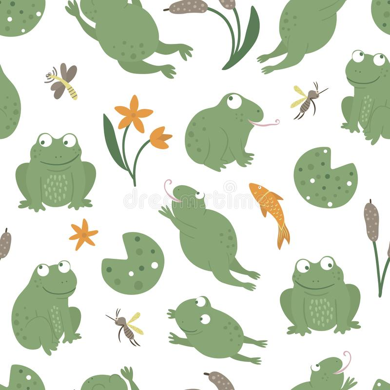 Vector seamless pattern of cartoon style flat funny frogs in different poses with waterlily, dragonfly, mosquito, reed, heron clip royalty free illustration
