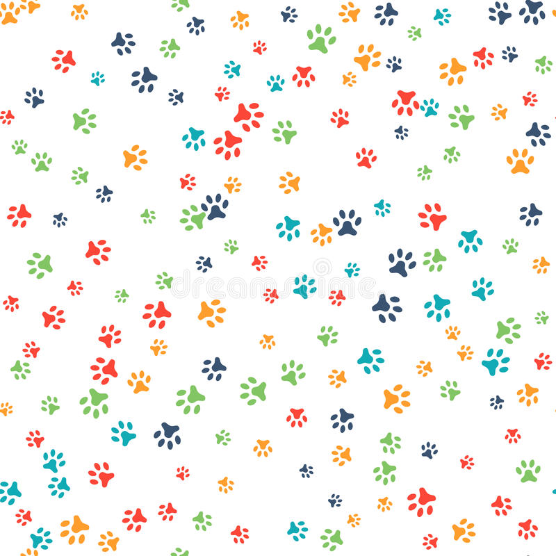 Vector seamless pattern with cat or dog footprints stock illustration