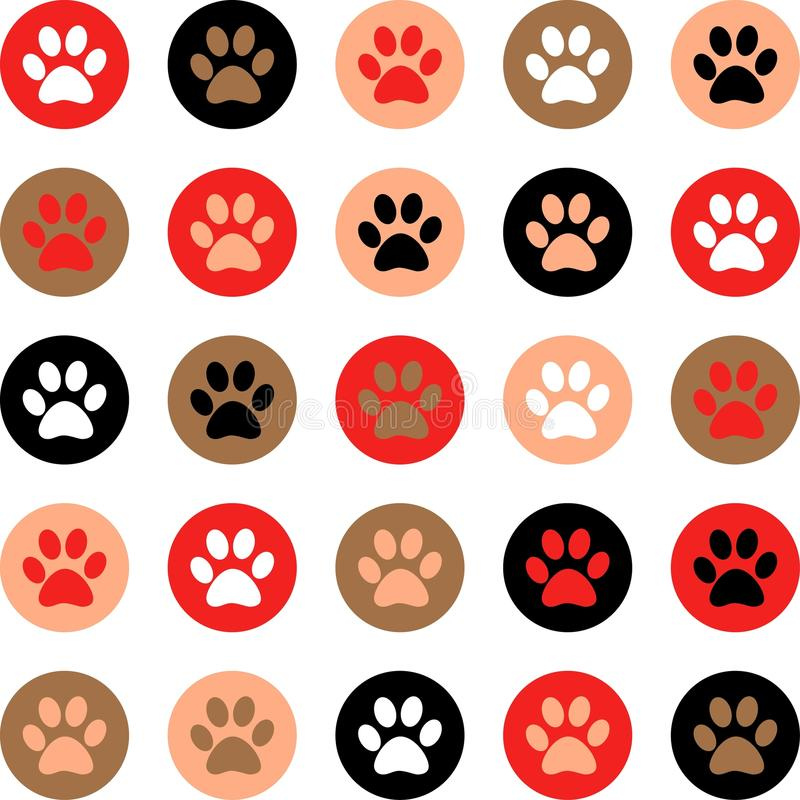 Vector seamless pattern with cat or dog footprints. Cute colorful paws. Animal concept. Foot steps. Veterinary. Vector stock images