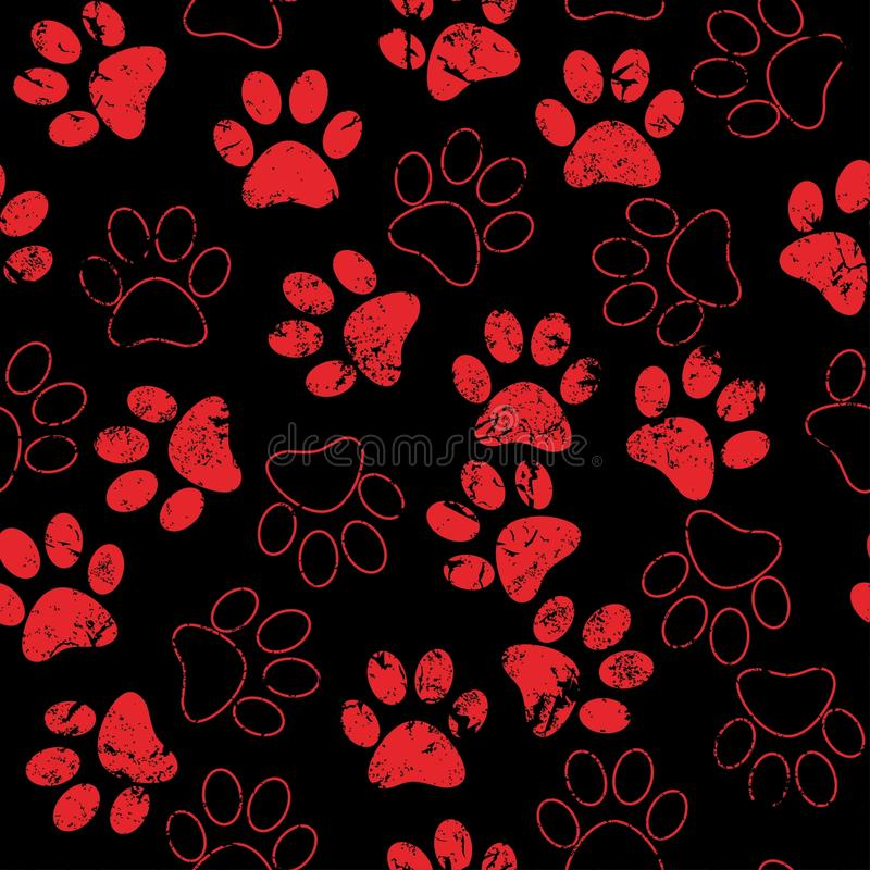 Vector seamless pattern with cat or dog footprints. Cute colorful paws. Animal concept. Foot steps. Veterinary. Vector royalty free stock image