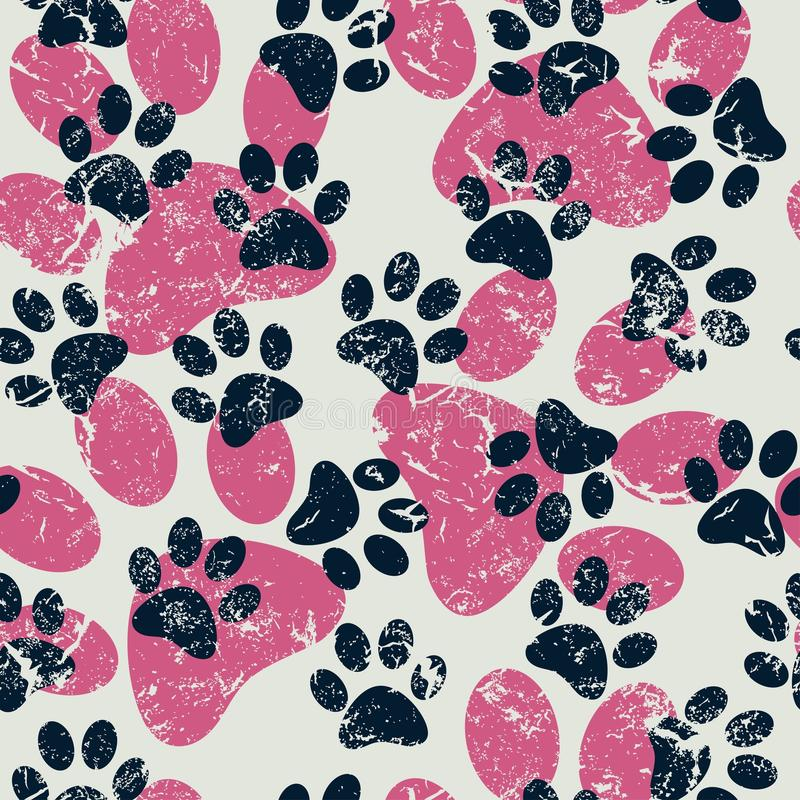 Vector seamless pattern with cat or dog footprints. Cute colorful paws. Animal concept. Foot steps. Veterinary. Vector royalty free stock photo