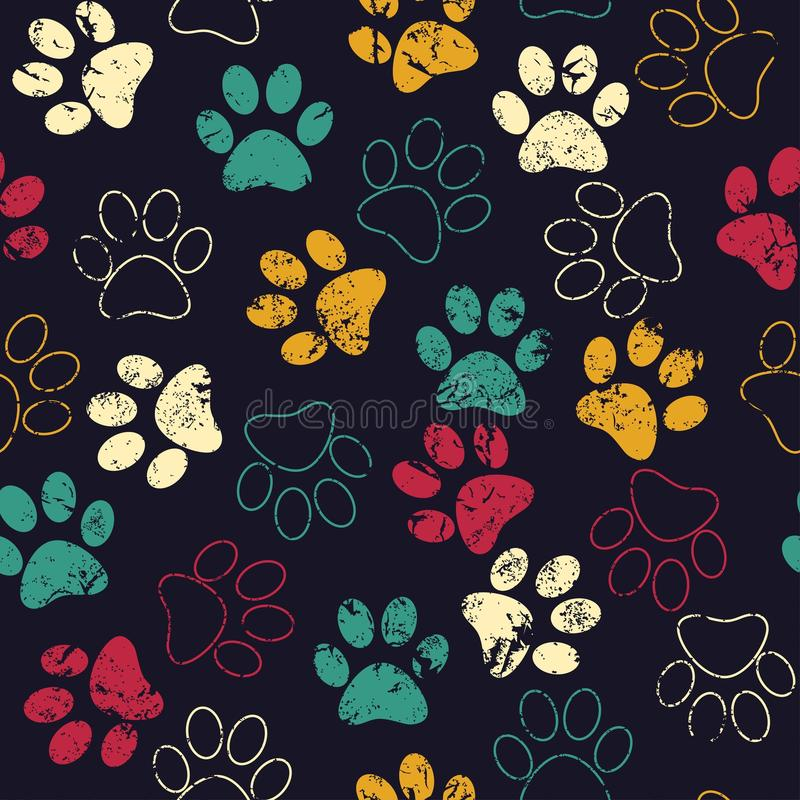 Vector seamless pattern with cat or dog footprints. Cute colorful paws. Animal concept. Foot steps. Veterinary royalty free stock photography