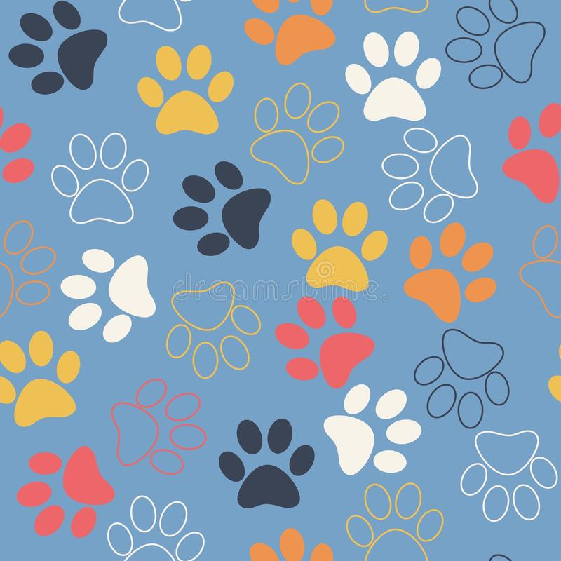 Vector seamless pattern with cat or dog footprints. Cute colorful paws. Animal concept. Foot steps. Veterinary stock images