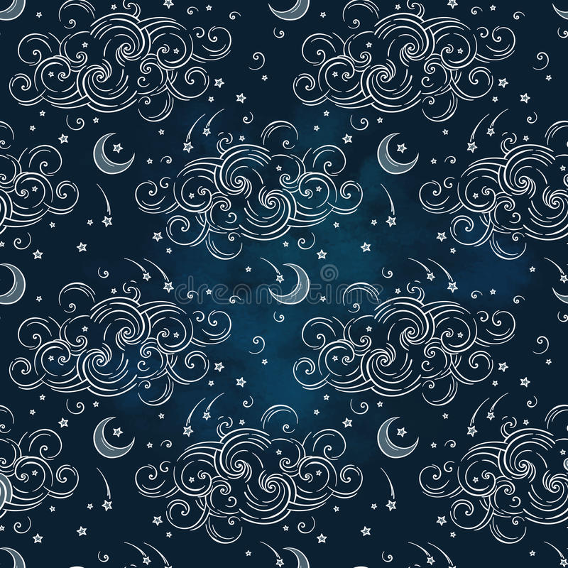 Vector seamless pattern with celestial bodies - moons, stars and clouds. Boho chic print hand drawn textile design stock illustration
