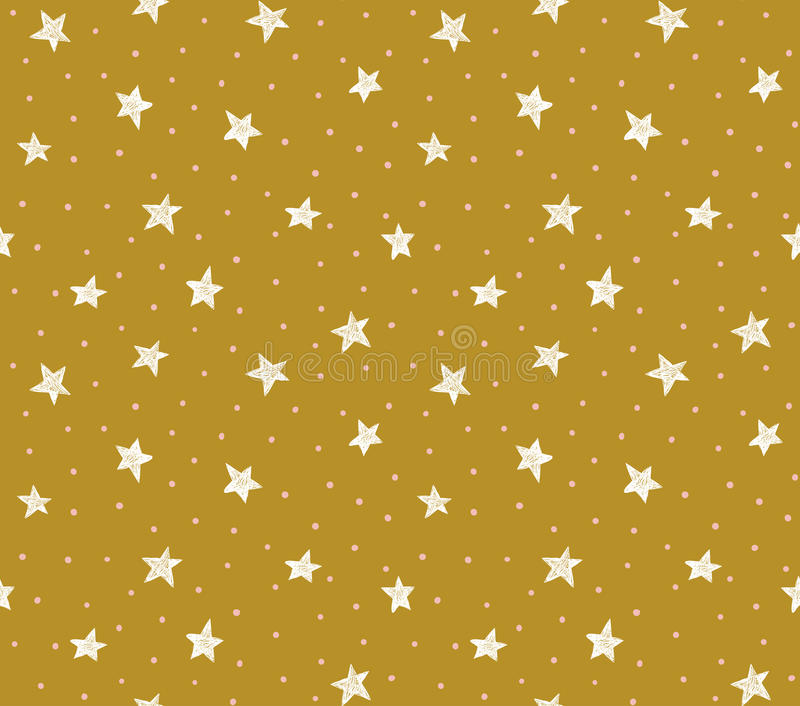 Vector seamless pattern with chaotic dots and stars on the gold background. vector illustration