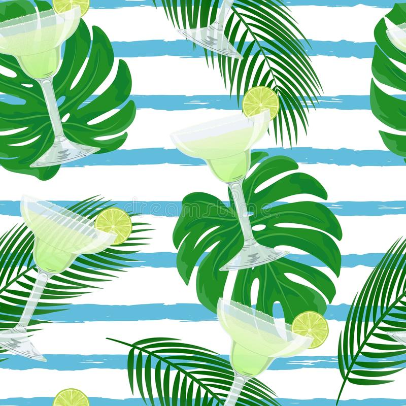 Vector seamless pattern with classic Margarita cocktail. Vector cute seamless pattern with glasses of Margarita cocktail. Summer background with fresh drinks royalty free illustration
