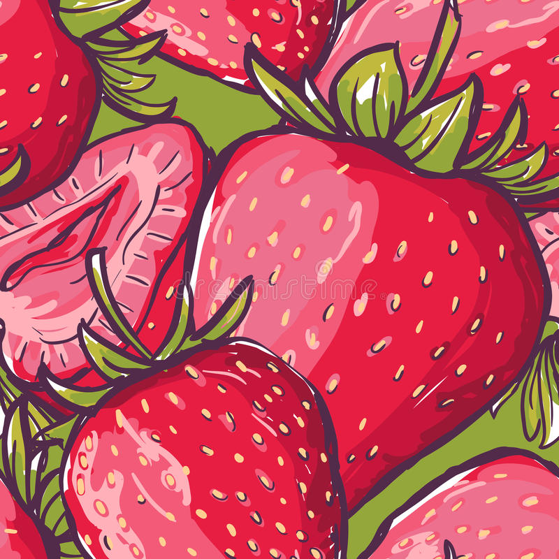 Vector seamless pattern with close-up red strawberries. Colorful summer background with berries. Design for fabric, textile print, wrapping paper. Healthy food royalty free illustration