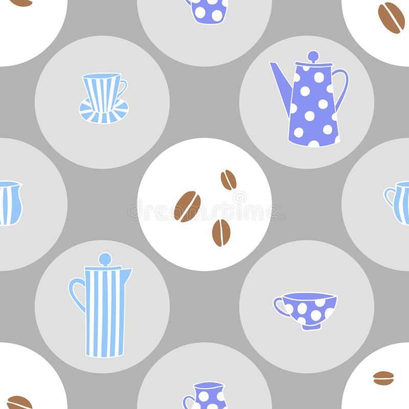 Vector seamless pattern with coffeepots and cups stock illustration