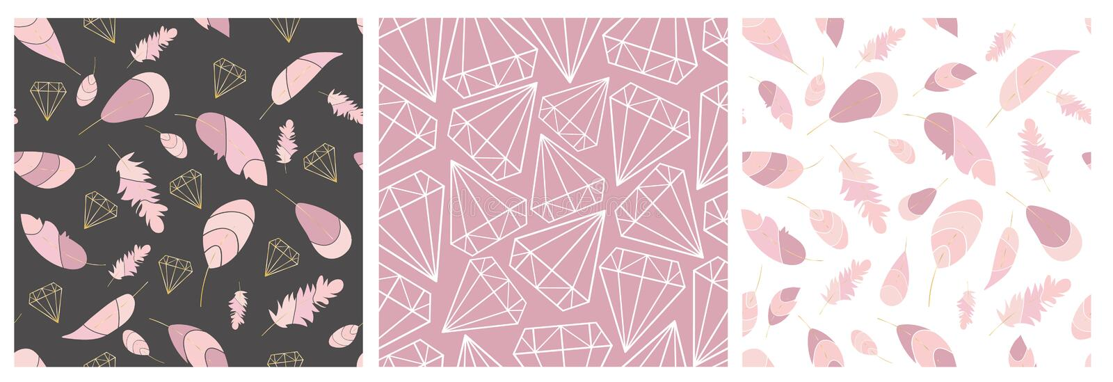 Vector seamless pattern collection. Feather and diamonds,gems,crystals. Stylish,trendy,fashionn pattern set. royalty free illustration