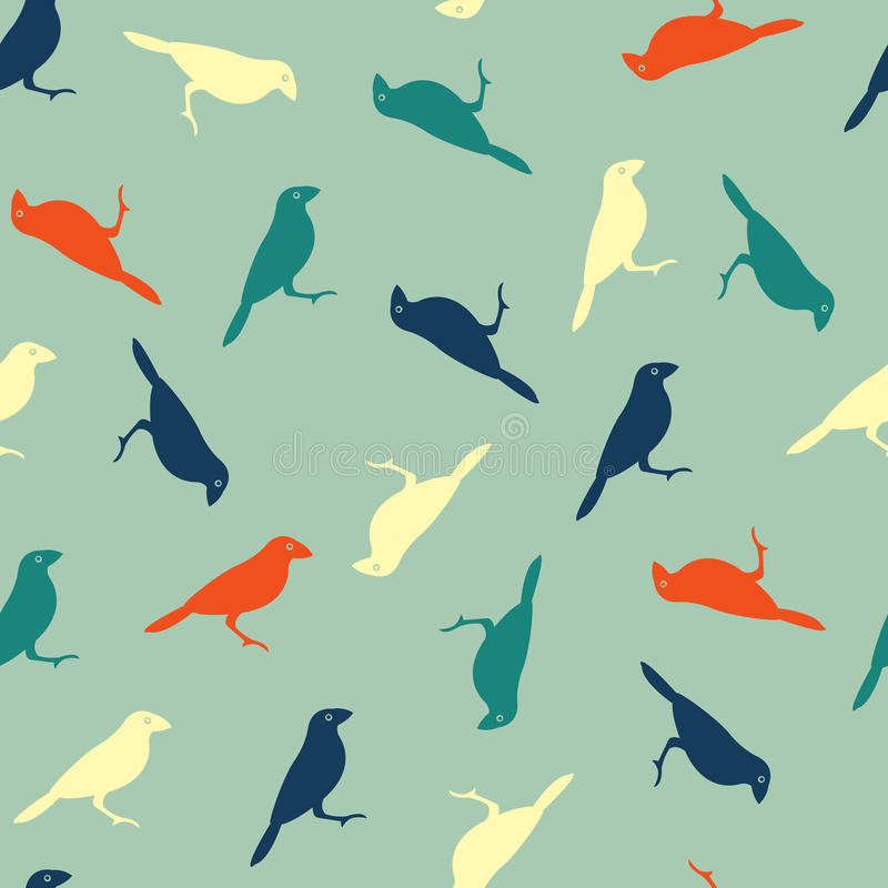 Vector seamless pattern with color birds vector illustration