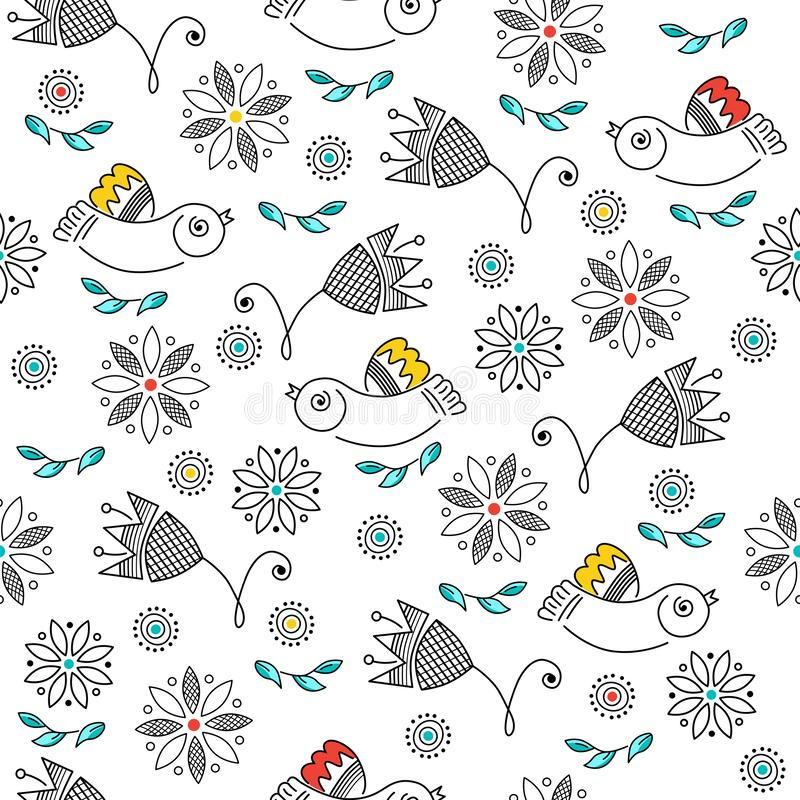 Vector seamless pattern, color drawings of birds, flowers, line art. Embroidery, ornament for background royalty free illustration