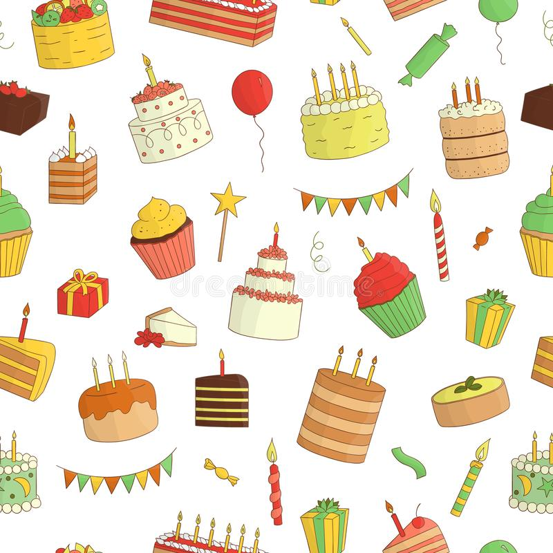 Vector seamless pattern of colored cakes with candles stock illustration