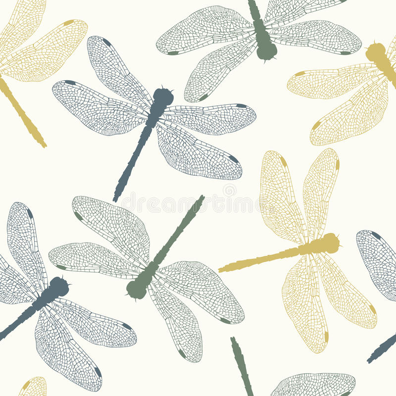 Download Vector Seamless Pattern With Colored Dragonflies Stock Image - Image: 10056991