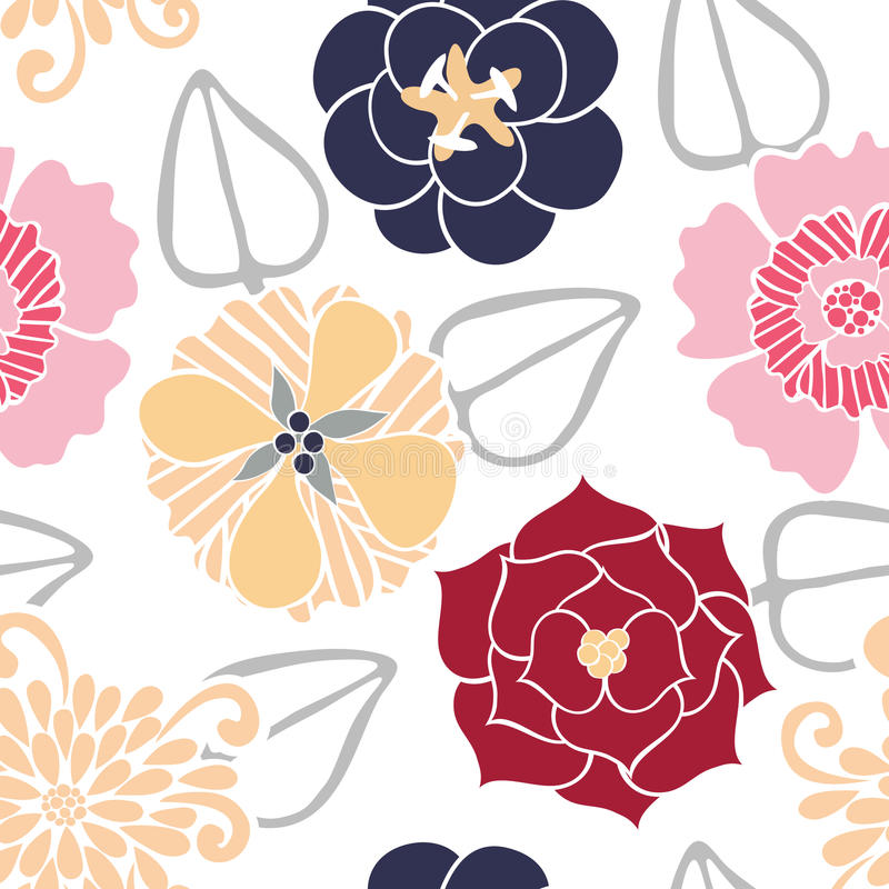 Download Vector Seamless Pattern Of Colored Flowers Stock Vector - Image: 10057146