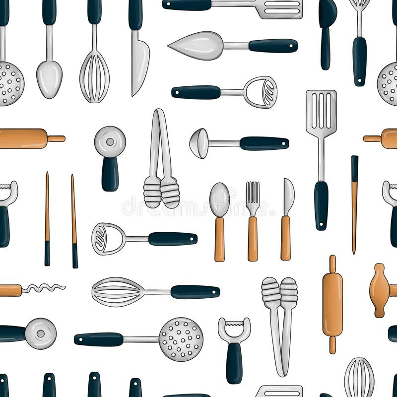 Vector seamless pattern of colored kitchen tools. Repeat background with isolated colorful cutlery, spatula, whisk, knife, spoon, royalty free illustration