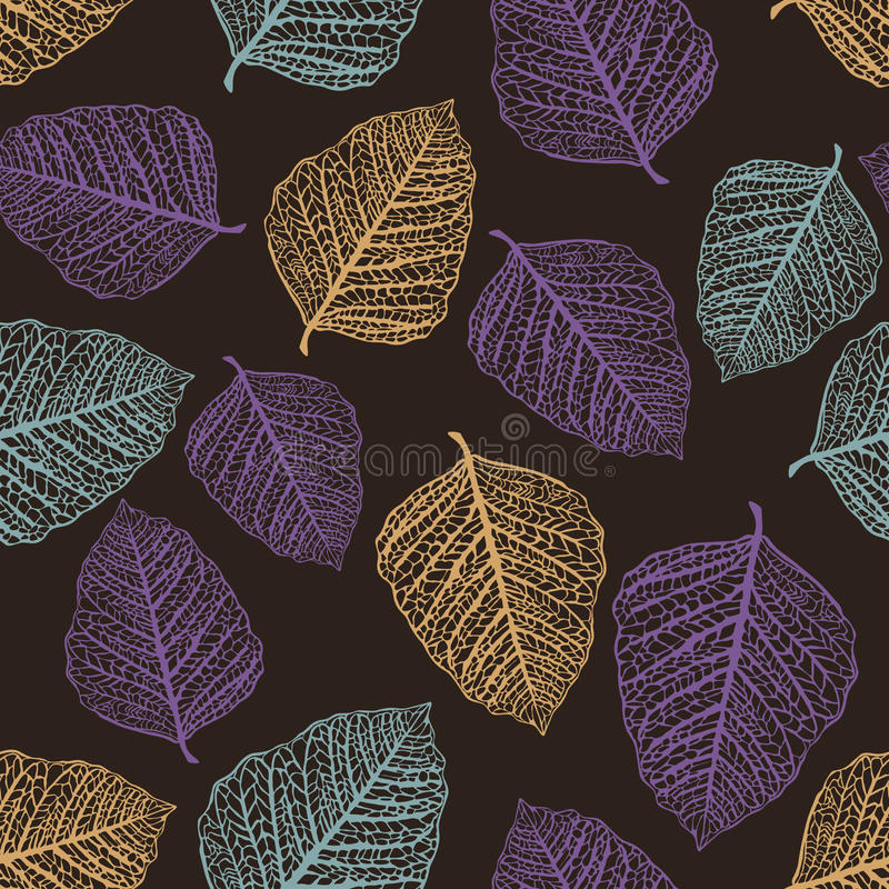 Vector Seamless Pattern Of Colored Leaves Royalty Free Stock Images