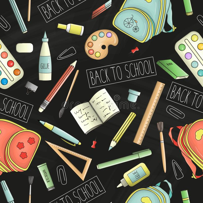 Vector seamless pattern of colored stationery, office or school supplies on chalkboard background. Back to school repeat backdrop royalty free illustration