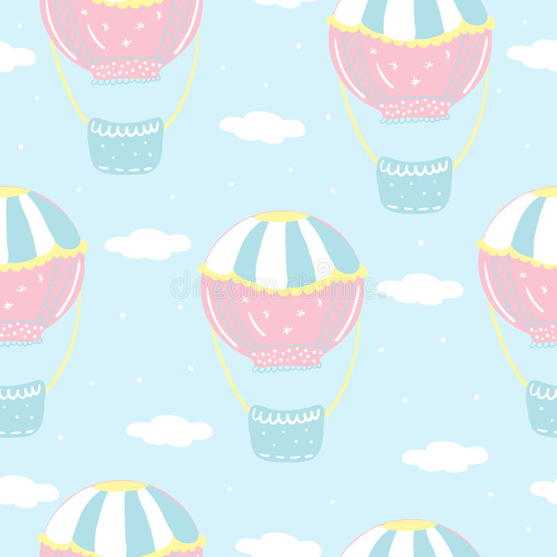Vector seamless pattern with colorful air balloon in the sky royalty free illustration