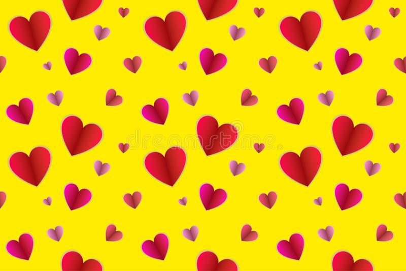 Vector Seamless Pattern, Colorful Background with Paper Folded Hearts, Love Symbols on Bright Yellow Backdrop. stock illustration