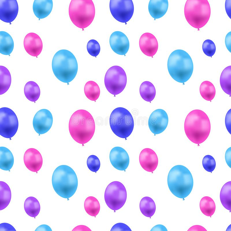 Vector Seamless Pattern, Colorful Balloons on White Background, Festive Illustration Template, Blue, Pink and Purple Colors. royalty free illustration