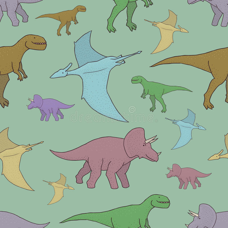 Vector seamless pattern with colorful dinosaurs. Hand drawn vector seamless pattern with colorful dinosaurs royalty free illustration