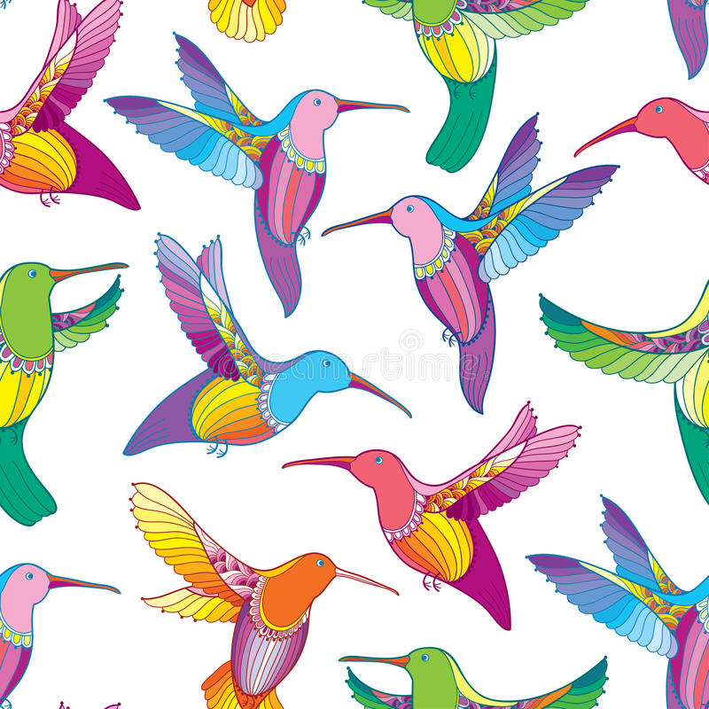 Vector seamless pattern with colorful flying Hummingbird or Colibri in contour style on the white background. Exotic tropical bird stock illustration