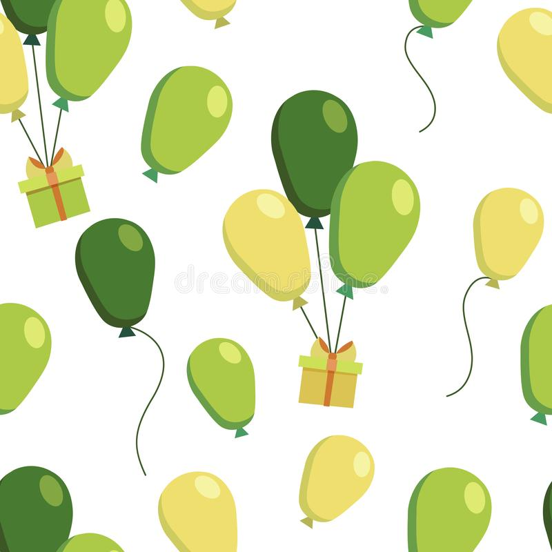 Vector seamless pattern with colorful gifts in boxes and flying yellow green balloons. Endless texture. Wrapping paper stock illustration