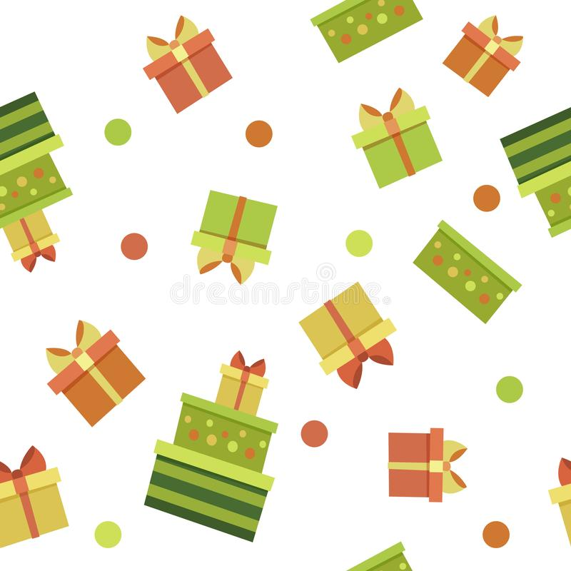 Vector seamless pattern with colorful gifts in boxes and green red orange dots. Endless texture. Wrapping paper,textile vector illustration