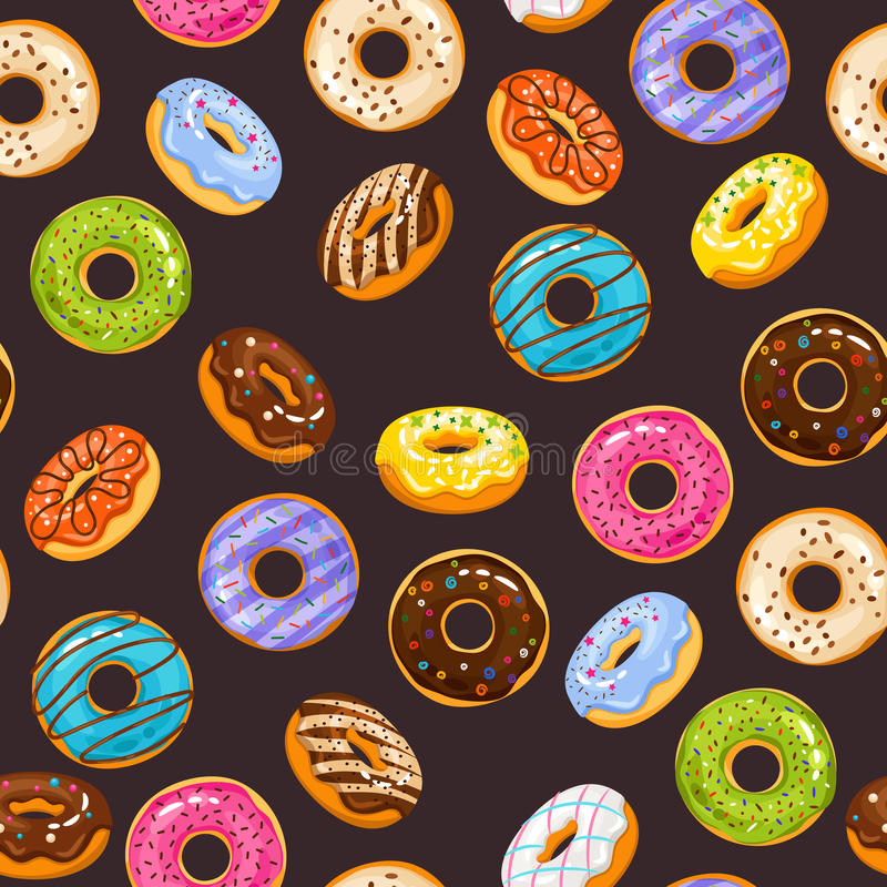 Vector seamless pattern with colorful glaze and sprinkles donuts chocolate donut stock illustration