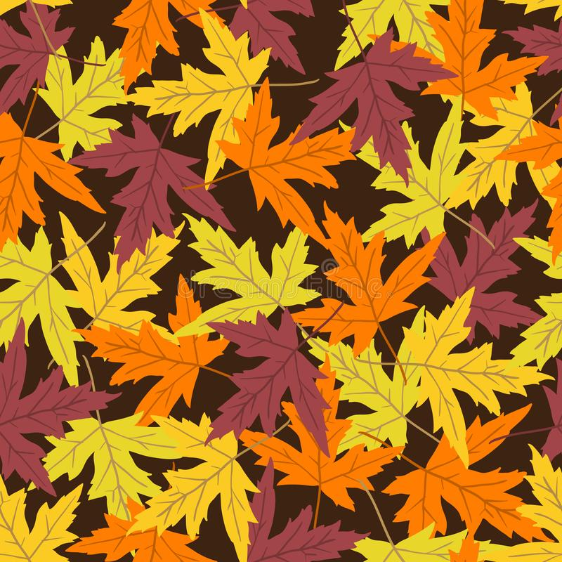 Vector seamless pattern with colorful maple leaves. Vector seamless pattern with maple leaves on background. Perfect for wallpaper, gift paper, autumn greeting stock illustration