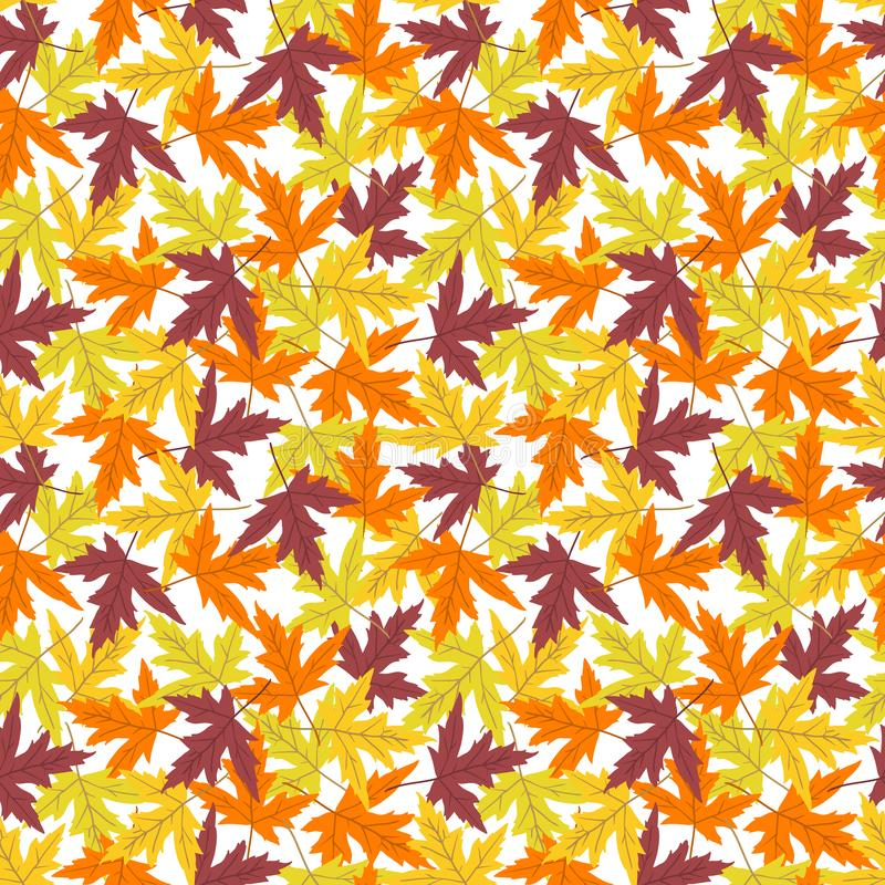 Vector seamless pattern with colorful maple leaves. Vector seamless pattern with maple leaves on white background. Perfect for wallpaper, gift paper, autumn royalty free illustration