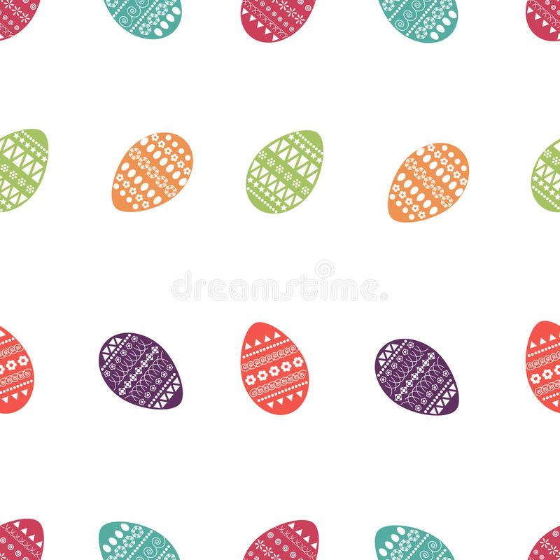 Vector seamless pattern of colorful and ornate easter eggs. Fresh and spring design for greeting cards, textile, booklet, fabric, stock illustration