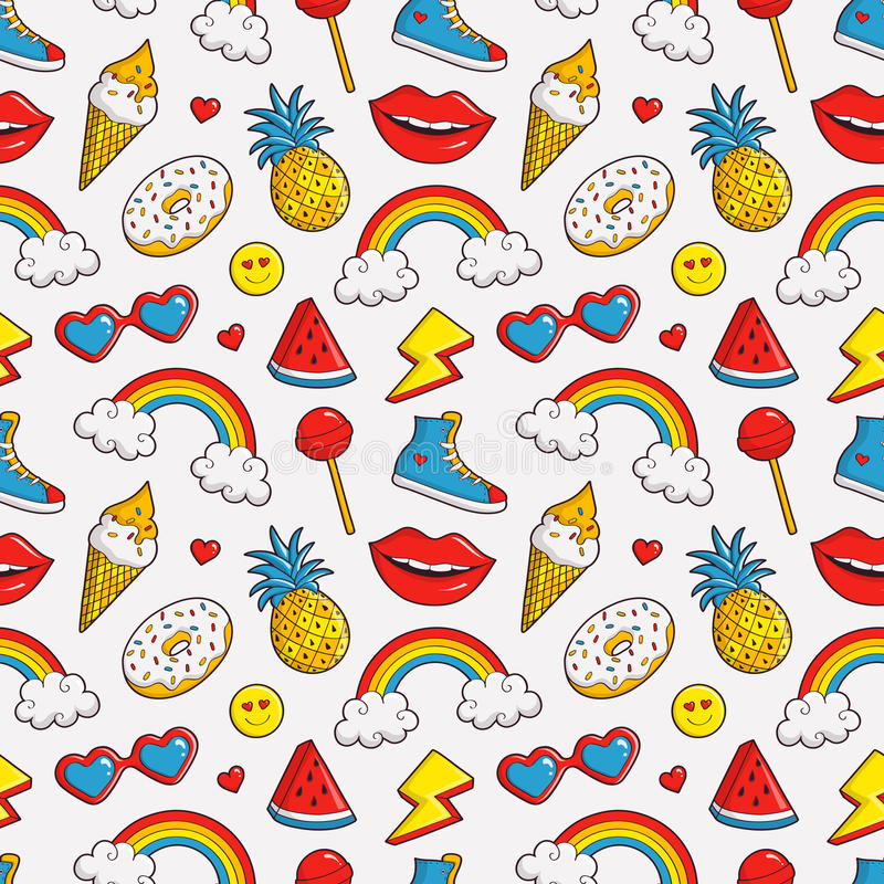 Vector seamless pattern with colorful patches. vector illustration