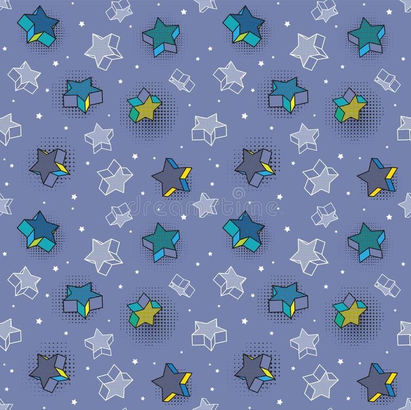 Vector seamless pattern, colorful pattern with 3d graphic elements. You can use this as a wallpaper in a childrens room vector illustration