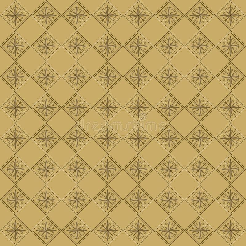 Vector seamless pattern of compass in vintage style royalty free illustration