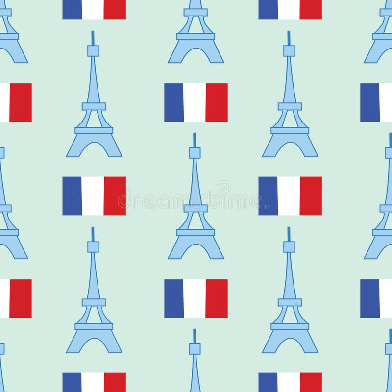Seamless background with symbols of Paris - Eiffel Tower and other stock illustration