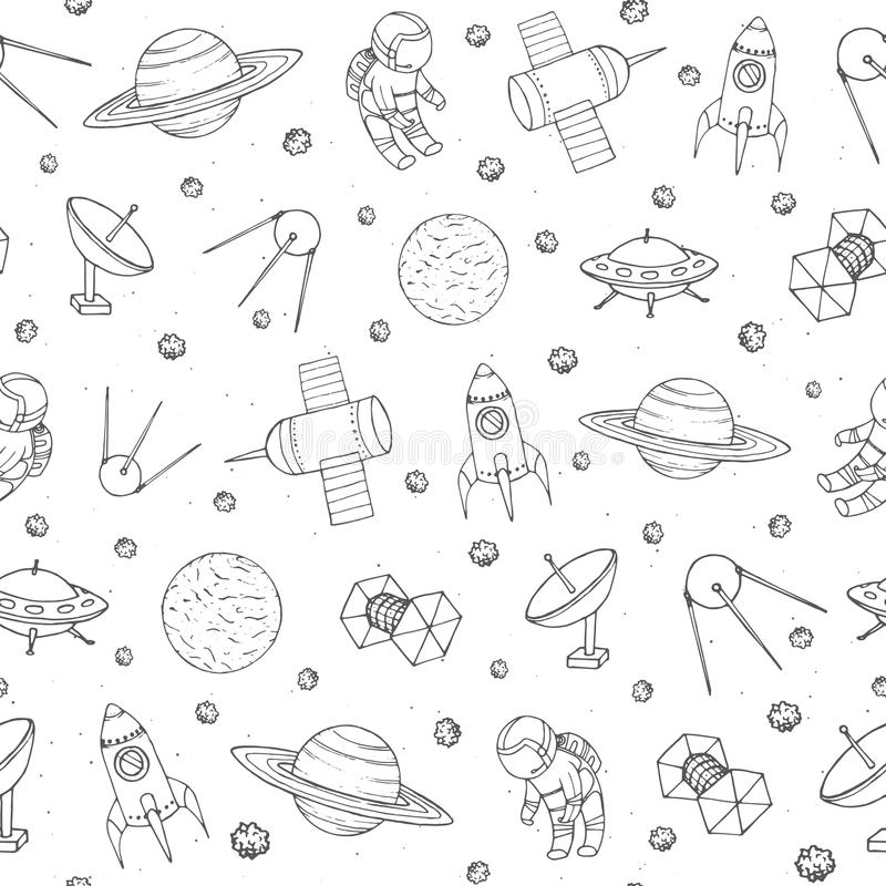 Vector seamless pattern with cosmonauts, satelites, rockets, planets, moon, falling stars and UFO contours. Cosmic background for. Education and science portals vector illustration