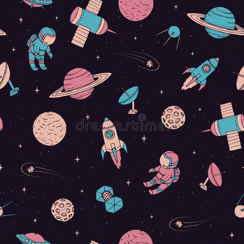 Vector seamless pattern with cosmonauts, satelites, rockets, planets, moon, falling stars and UFO in sketchy style. Cosmic. Elements on the starry dark stock illustration