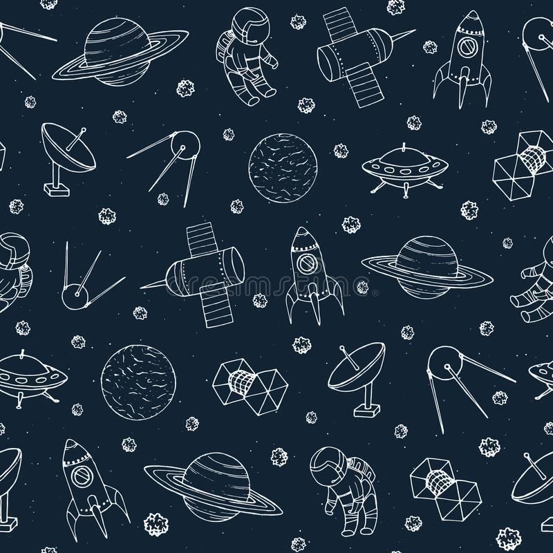 Vector seamless pattern with cosmonauts, satelites, rockets, planets, moon, falling stars and UFO contours in sketch style. Cosmos background. Space travel stock illustration
