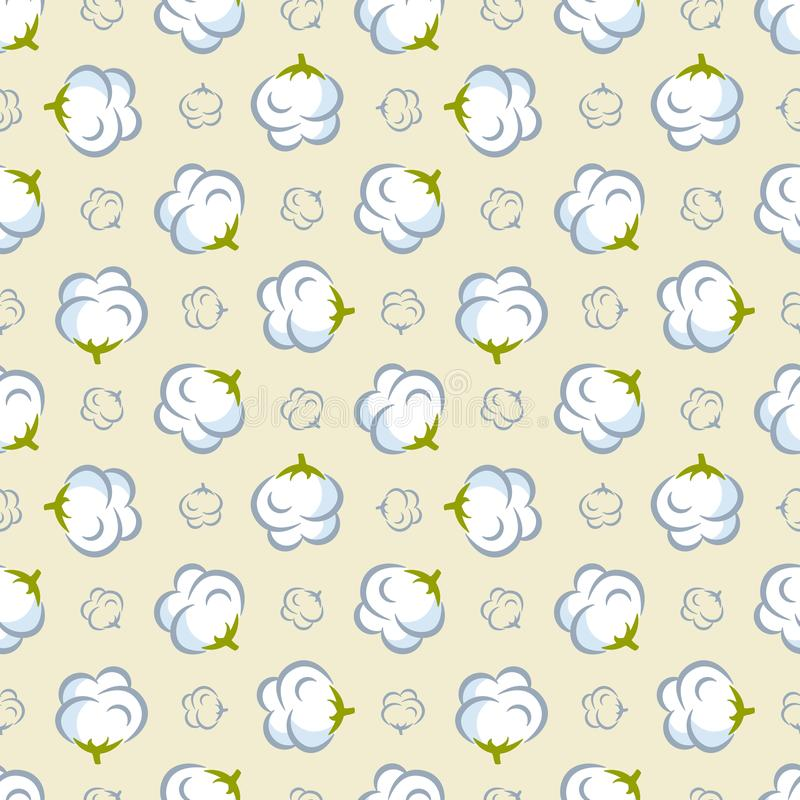 Vector seamless pattern with cotton plant on pink background. royalty free illustration