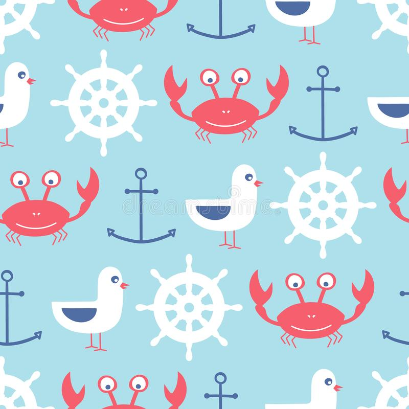 vector seamless pattern with crab, anchor, seagull, helm vector illustration