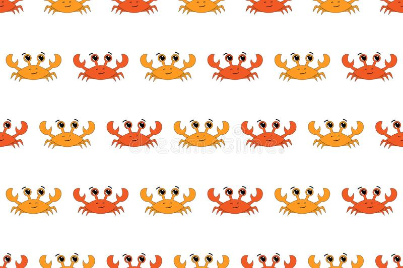 Vector seamless pattern with crabs illustration. White background, orange, red. royalty free illustration