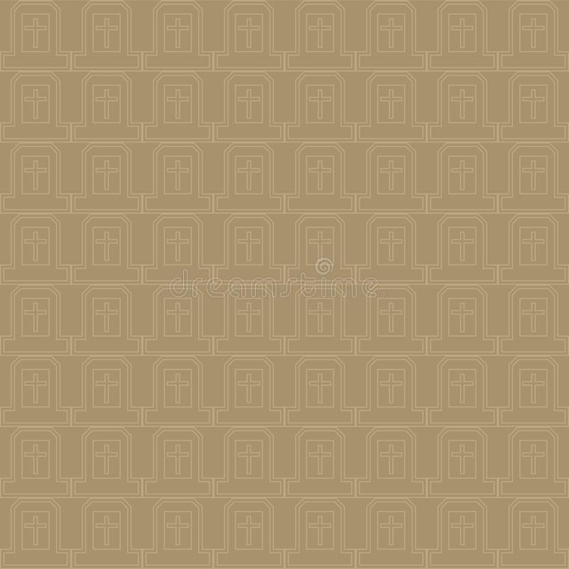 Vector seamless pattern of cross in natural brown and gray color stock illustration